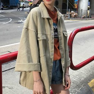 Jackets Women Solid Loose Simple Denim Jacket Retro All-match Korean Style BF Tops Girl Vintage Womens Trendy Coat Basic New Hot