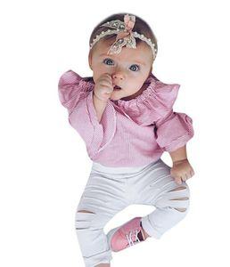 Niño Infantil Trajes de Bebé Ropa de Niña Tops Rayas Mameluco Pantalones Rasgados Trajes Conjunto de Ropa roupas infantis menina