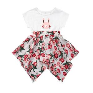 Para los niños vestidos de día de Pascua de las muchachas vestido corto vestido de la manga del vestido del niño del bebé ropa de la muchacha niños de la princesa floral