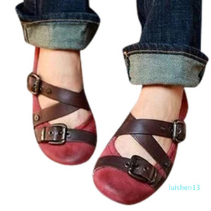 Women Vintage Flat Bottom Shoes Mary Janes Sandals Belt Buckle round toe summer fashion 2019 new flat shoes big size 43 green l13