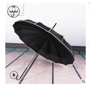 2020 venda quente 16K longa alça pólo reta nupcial guarda-chuva ao ar livre guarda-sol longa-handle guarda-chuva à prova de vento guarda-chuva Baobian pagode preto