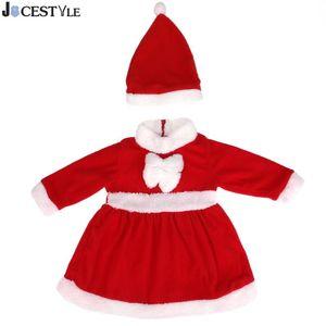 JOCESTYLE 2 pcs Natal Roupas de Bebê Menina Set Infantil Papai Noel Traje Vestido Com Xmas Chapéu Infantil Criança Roupa Da Menina Set Y18120801