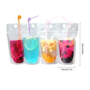 Clear Drink Pouches Bags Frosted Zipper Stand-up Plastic Drinking Bag With Straw With Holder Reclosable Heat-Proof Juice Bag Pouch