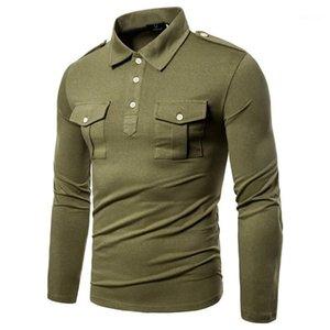 Uzun Kollu Yaka Boyun Erkek İlkbahar Casual Erkek Giyim Katı Renk Tasarımcı Erkek T Shirts