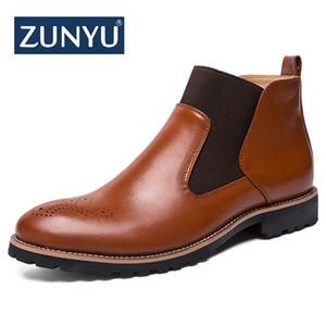 ZUNYU Nueva Primavera de Cuero Genuino Brogue Style Hombre Botines Botas Formales Transpirables Hombre High Top Zapatos Casuales Botas Homme