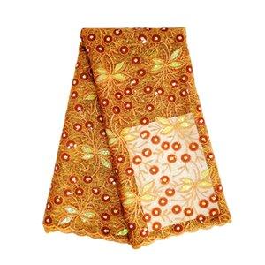 Afrika düğün elbiseleri için yeni varış 5yards / lot yanmış portakal payet dantel kumaş