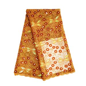 New 5yards chegada / lot laranja queimado tecido de lantejoulas rendas para vestidos de festa de casamento africano