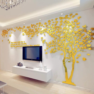 Large Size Paar Baum Spiegel-Wand-Aufkleber TV Kulisse DIY 3D Acryl Autocollant Wandhauptdekor-Wohnzimmer-Wand-Abziehbilder T200111