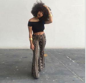 Tam Uzunlukta Moda Gevşek Gece Kulübü Stil Uzun Pantolon Kadın Gündelik Giyim Bohemian Bayan Yaz Tasarımcı Flare Düzenli