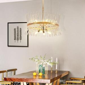 Lampade Postmodern lampadario oro portato pendente in vetro sala da pranzo camera rettangolo di vetro creativo ciondolo Lampadari luci infissi vivente