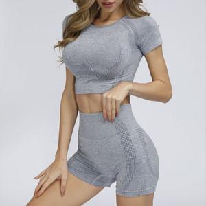 2 peça vital Seamless Esporte Suit Mulheres manga curta Yoga Set Gym Top Curto e cintura Shorts altos Terno para roupa da aptidão