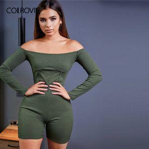 COLROVIE Army Green spalle a costine Unitard pagliaccetto tutina Donne 2020 Autunno maniche lunghe Skinny Playsuits Casual