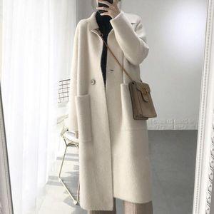 حقيقية المنك الكشمير سترة المرأة الكشمير الخالص سترة المنك محبوك jacketn الفراء في فصل الشتاء معطف طويل الشحن المجاني 2019 DC486