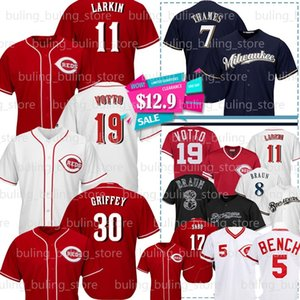 19 Joey Votto Jersey 11 Barry Larkin 5 Johnny Bench 30 Ken Griffey Jr Chris Sabo Pete Rose 8 Ryan Braun