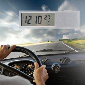 مصغرة 2 في 1 LCD السيارات الرقمية سيارة شاحنة على مدار الساعة + ميزان الحرارة مع شفط كأس AG10 زر خلية بطارية تعمل 90 × 27 س 15mm