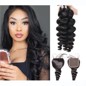 10A Virgin Mink Brazilian Loose Wave Human Hair Bundles With 4x4 Lace Closure Raw Culry Body Loose Wave Hair Wefts Extensions