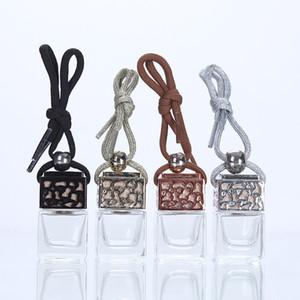 Forme carrée en verre voiture parfum bouteilles Pendentif 5ml parfum vide Hanging Bouteille Diffuseur voiture avec Couvercles A03