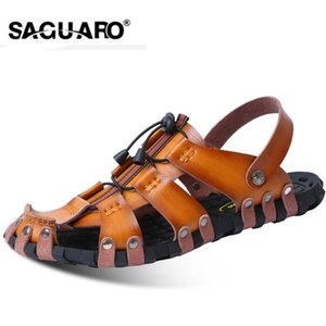 SAGUARO 남성 샌들 정품 가죽 패션 검투사 여름 해변 슬리퍼 플립 플롭에서 미끄러 져라 Men Shoe Zapatos Sandalias Hombre