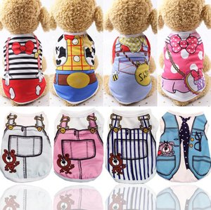 Fashion Summer Dog Clothes Cat Vest Shirt Pure Color Cat Clothing For Pets Striped Dog T Shirts Small Medium Pet Baby Apparel Clothes