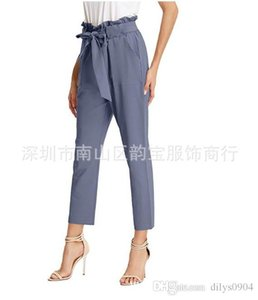 Foreign Trade European and American Hot Selling Women Decoration Height Waist Straight Tube Leisure Ninth pants Cotton With a belt
