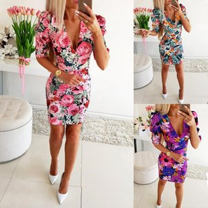 OM9280 robe Casual Dresses Women's Clothing 2020 new Bohemian floral patchwork Ruffle V-neck lace up flare sleeve dress