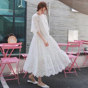 Kayış Astar Hamile Giyim twinset White ile Yaz Hamile Kadın İki parçalı Elbise Suits Artı boyutu Hollow Out Pamuk Elbise