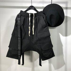 오웬 Seak 남성 캐주얼 짧은 하렘 고딕 양식의 하이 스트리트 힙합 남성의 크로스 스웨트 팬츠 여름 스트리트 바지 남성 느슨한 검은 색 짧은