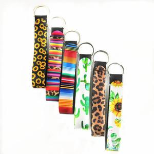 11 Styles en néoprène porte-clés pour téléphone sangles Longe de tournesol motif léopard avec dragonne corde pour téléphone portable Sac à main Décoration