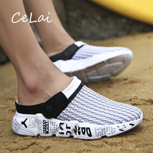 CeLai Size 39-46 Summer Mesh Shoes Men Sandals Beach Slippers Clogs Male Sneaker Clogs Man Zuecos Sandalias Zapatos Hombre A-032 Y200702