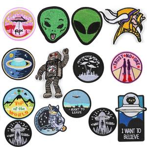 UFO Alien Ferro em Patches para Roupas Adesivos Astronauta Listras Apliques em Roupas Espacial Planeta Bordado Emblemas