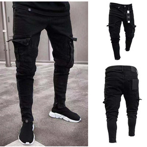 Europee e americane vendita calda Stretch dei jeans degli uomini Trend ginocchio Foro Foro Zip Feet pantaloni pantaloni