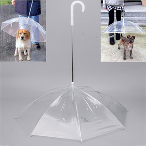 Transparent PE Pet Umbrella Small Dog Puppy Umbrella Rain Gear with Dog Leads Keeps Pet Travel Outdoors Supplies DHL WX9-1314