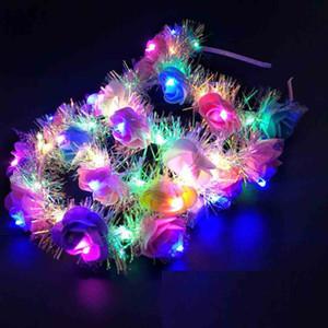 صديقة للبيئة زهرة LED ضوء ولي المرأة الزهور رباطات متوهجة العصابة لحفل زفاف