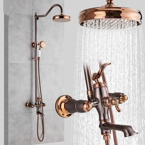 Petróleo friccionada Bronze torneira do chuveiro Sistema Rainfall Rosa de Ouro e Bronze Casa de banho Duche Mixer Duche Set torneira bica giratória