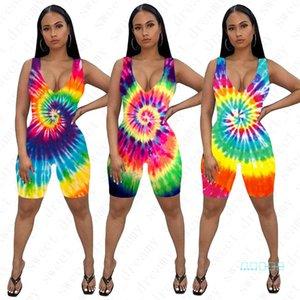 Skinny delle tute dei pantaloni di scarsità delle donne di colore tie-dyed maniche un-parti Shorts pagliaccetto di estate delle signore sexy i pagliaccetti femminili Outfits D42205
