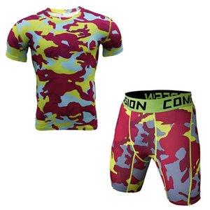 Men T Set And Tights Gyms Rashguard Workout Camouflage Clothing 3d Print Mma Shirt Crossfit Costume Compression Fitness Oxbkd