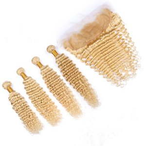 Bleach Blonde Indian Virgin Human Hair Wefts with Frontal Deep Wave 4Bundles #613 Blonde Hair Wefts with 13x4 Lace Frontal Closure 5Pcs Lot