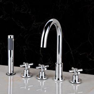 JOMUWA bathroom deck mounted bath shower mixer Bathtub Basin Sink Brass Mixer Tap 5 PCS tub faucet bath spout