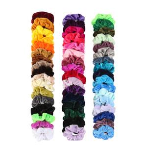 Bandas elásticas del pelo de la vendimia Scrunchies terciopelo de Scrunchie paquete de elástico de las mujeres de la muchacha de pelo, gorros de goma lisos lazos del pelo 50 colores