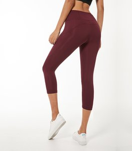 2019 여름 요가 여성 탄성력은 얇은 부분 가오 허리 접합 포켓 스포츠 세븐 포인트 바지를 실행 양면