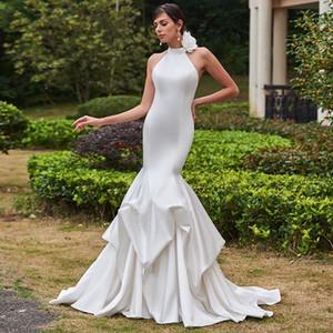 2018 elegante cetim branco sereia vestidos de casamento trem de varredura aberto vestidos de casamento personalizado flores feitas à mão plus size vestidos de noiva