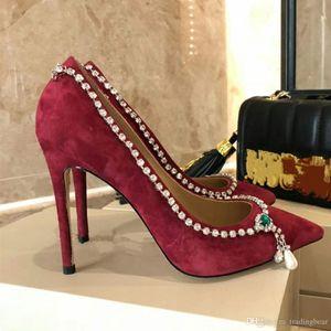 2020 Luxury Crystal Mix Necklace Burgundy Velvet Point-Toe Pumps Designer Shoes Size 34 to 41