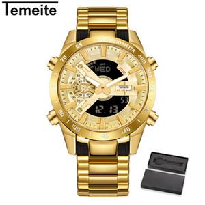 2020 Temeite Marca Mens ouro relógios de quartzo Esporte Digital Assista Homens LED Dual Display Relógio de pulso à prova d'água Luminous Relógio Masculino