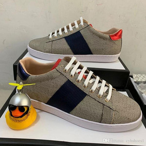 2020xiong blue red stripe Paris Luxury Designer shoes real Leather embroidered Men Shoes designer shoes bee Gift Sneakers for women