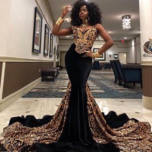 2020 Fashion GoldSequined Nixe-Abschlussball-Kleid mit V-Ausschnitt South African Black Girls Abendkleider Plus Size spezielle Gelegenheits-Kleid Abendkleider