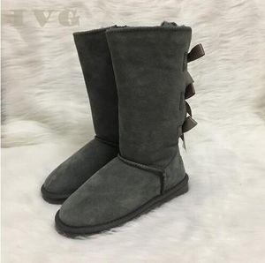 Venta caliente-botas de mujer Australia Style Women Winter Snow Boots 3-Bow Back Impermeable de cuero hasta la rodilla Botas al aire libre Marca Ivg
