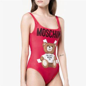 Bear Print Swimwear Designer Women One Piece Swimsuit Girls Bathing Suits Letter Beach Tankini Summer Bikini Black Red 798