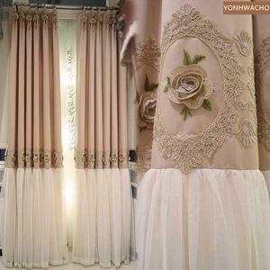 Custom curtain Noble elegant fantasy princess wind princess modern warm pink cloth blackout curtain tulle panel C259