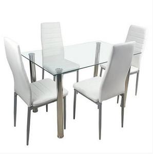 Freies Verschiffen Großverkauf 110cm Esstisch Set Ausgeglichenes Glas-Esstisch mit 4pcs Stühlen Transparent