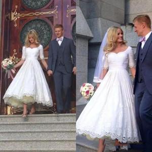 2020 Nouvelle simple élégante courte ligne robes de mariée chérie dentelle demi-manches longueur appliques cheville Taille Plus Custom Made robe de mariée